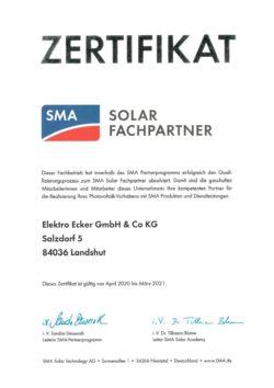 Elektro Ecker ist SMA Solar Fachpartner